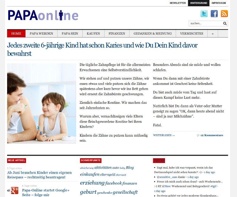 Bildschirmfoto: Blog papa-online.com